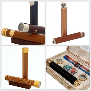 kaleidoscopes with leather or wooden covering